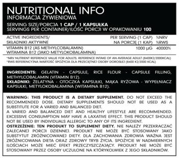 FSN Nutrafine Methyl B12 1000mcg x 100 kaps