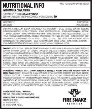 FireSnake Onyx Liquid (Fat Burner) 1000 ml